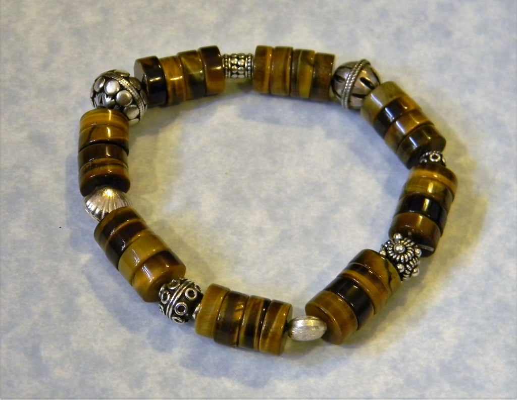 Large Tiger's Eye Rondel and Bali Silver Bead Stretch Bracelet