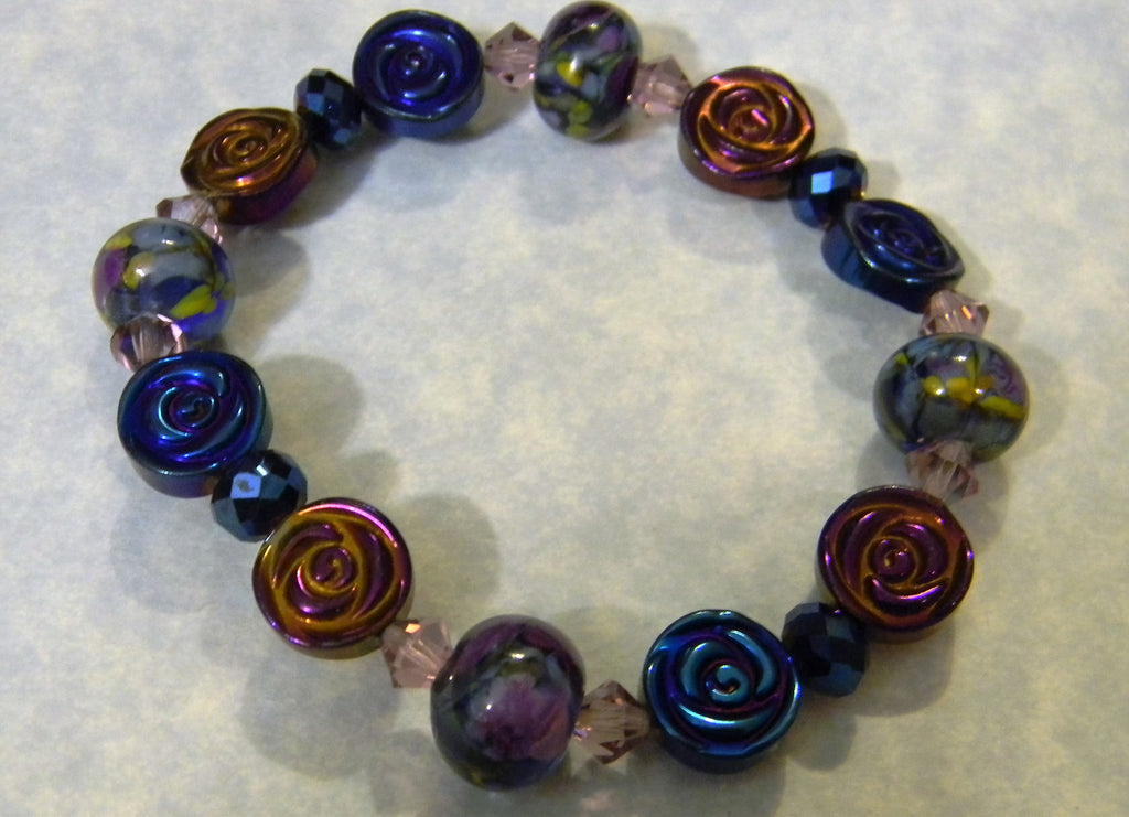 Blue Purple Art Glass Lampwork, Crystal and Iridescent  Glass Bead Stretch Bracelet