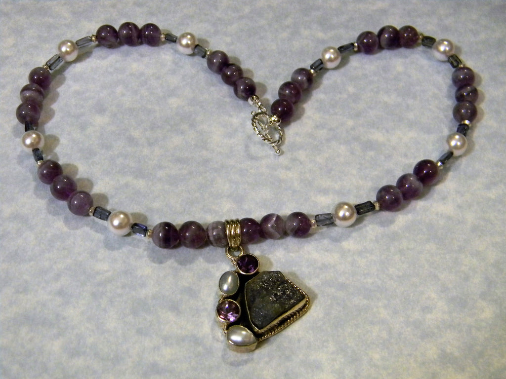 Iolite, Amethyst and Pearl Pendant Necklace