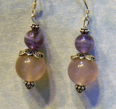 Rose Quartz, Amethyst and Bali Silver Drop Earrings