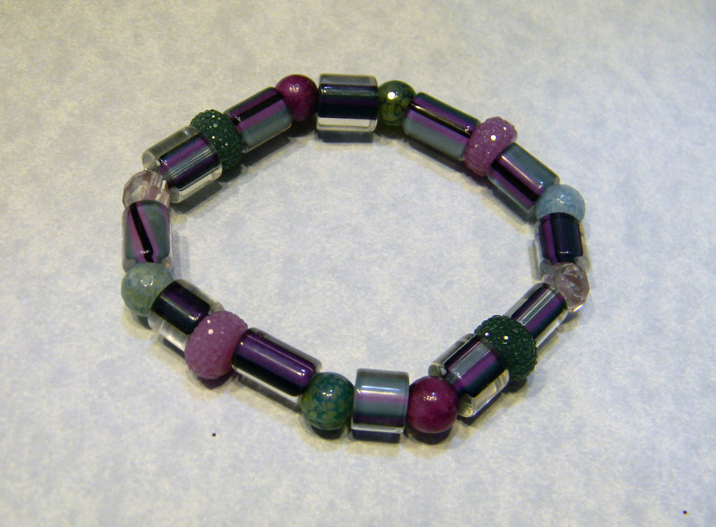 Teal and Purple Furnace Cane Bead, Gemstone, Glass and Acrylic Stretch Bracelet