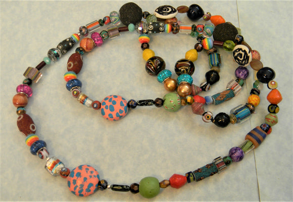 Multicolor Glass, Paper, Acrylic, Ceramic and Other Bead Very Long Necklace