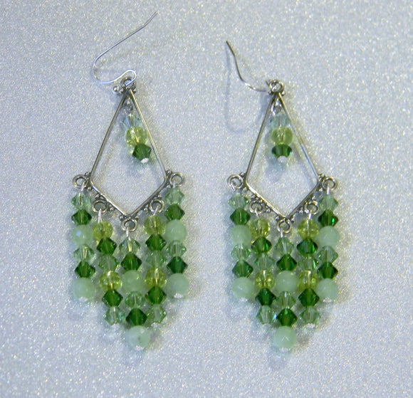 Shades of Green Crystal, Glass and Bali Silver Chandelier Earrings