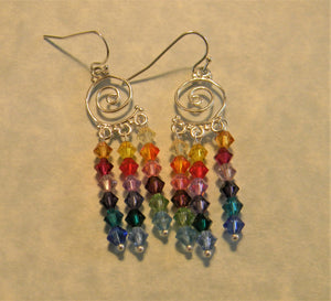 Rainbow Multicolor Crystal Bicone Spiral Chandelier Earrings