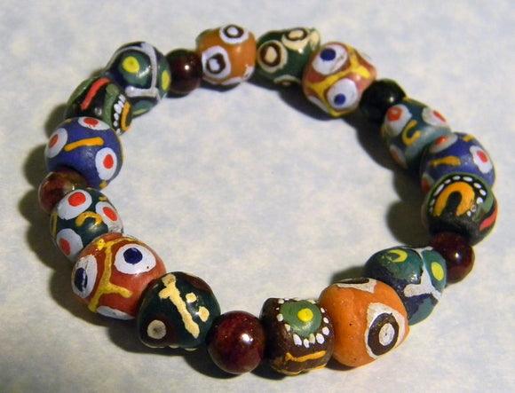 African Krobo Powder Glass and Faceted Eudialyte Stretch Bracelet
