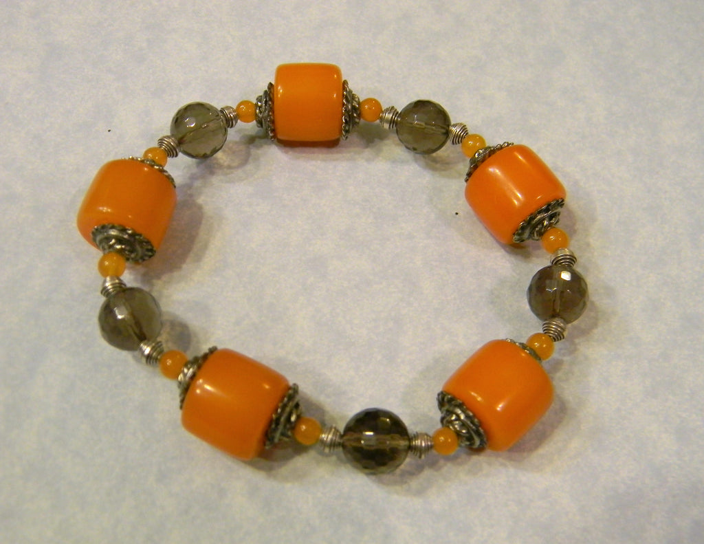 Amber, Smoky Quartz, Peach Aventurine and Silver Stretch Bracelet