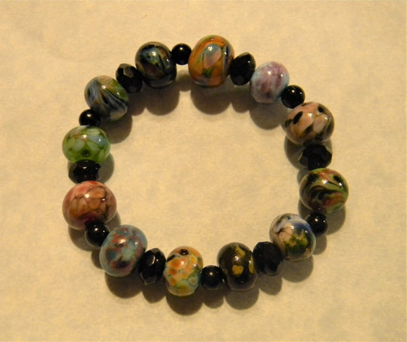 Multicolor Orphan Art Glass Lampwork Bead, Onyx and Faceted Glass Stretch Bracelet