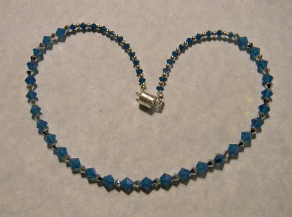 Caribbean Blue Opal and Silver Crystal and Silver Bead Necklace