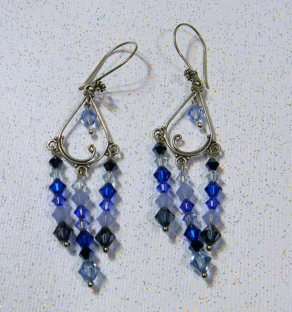 Shades of Blue Crystal and Bali Style Silver Chandelier Earrings