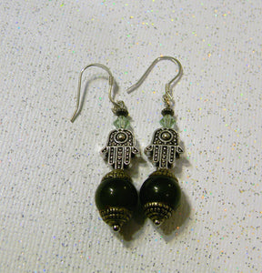 Tibetan Style Repousse End Cap Nephrite Jade, Hamsa Bead and Crystal Drop Earrings