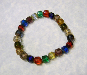Multicolor Rainbow Cathedral Bead Stretch Bracelet