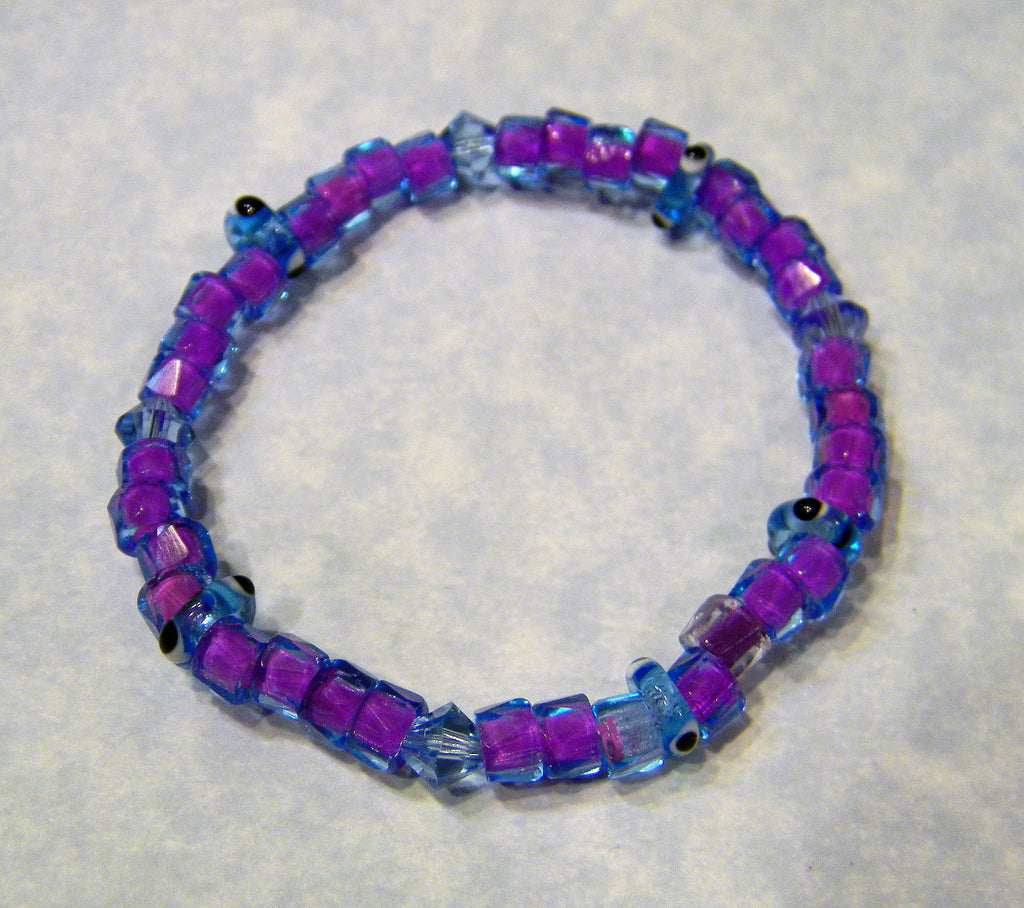 Two Tone Glass Bead, Crystal and Evil Eye Spacer Stretch Bracelet