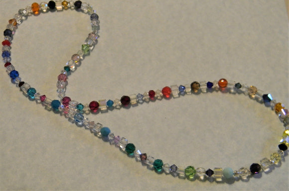 Rainbow, Multicolor and Clear Crystal and Faceted Glass Necklace