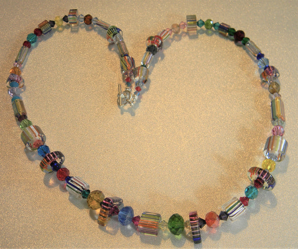 Rainbow Multicolor Furnace Cane Bead and Crystal Necklace