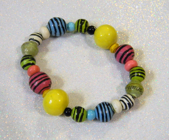 Multicolor Striped Ceramic Bead Stretch Bracelet
