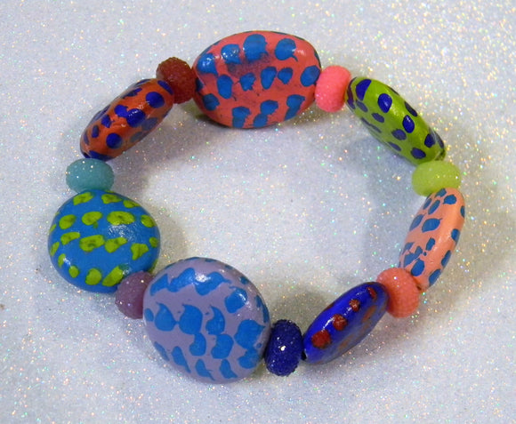 Huge Brightly Colored Spotted Ceramic and Acrylic Bead Stretch Bracelet