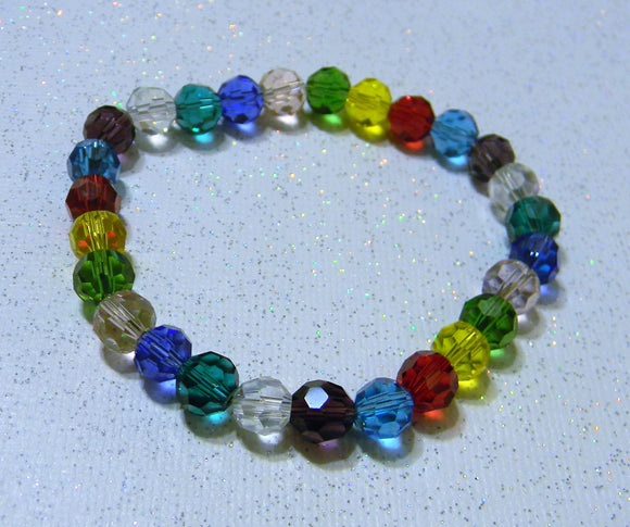 Rainbow Multicolor Faceted Round Crystal Stretch Bracelet