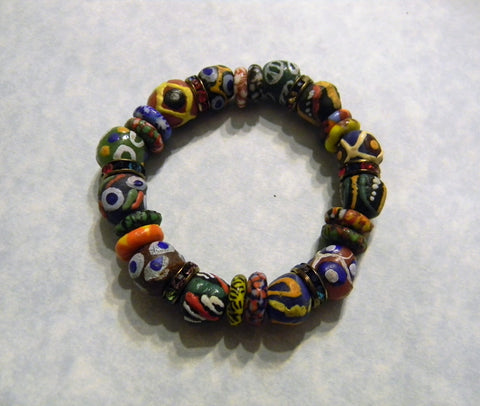 African Krobo Bead and Rainbow Multicolor Rhinestone Spacer Stretch Bracelet