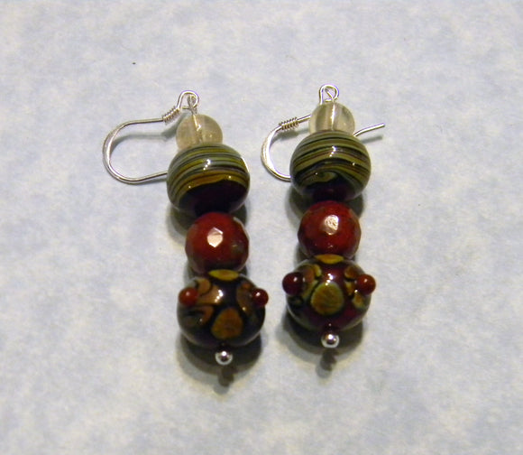 Shades of Rust and Brown Art Glass Lampwork Drop Earrings.