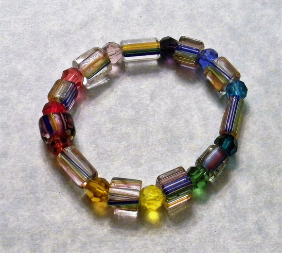 Rainbow Multicolor Furnace Cane Bead and Crystal Stretch Bracelet