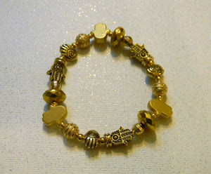Brass and Gold Plated Bead and Hamsa Stretch Bracelet
