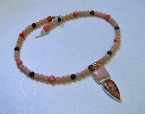 Pink Opal and Thulite Pendant on Garnet, Dyed Shell and Pink Opal Necklace