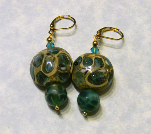 Aqua, Teal and Gold Art Glass Lampwork Bead and Peacock Jasper Drop Earrings