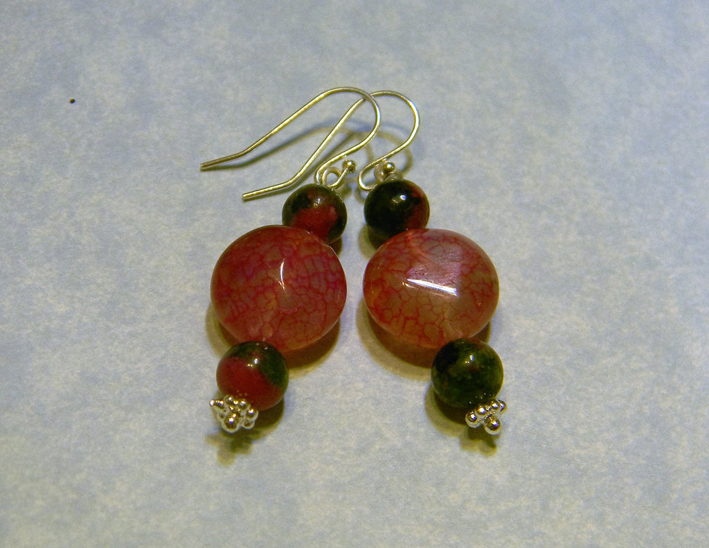 Fuchsia Cracked Quartz Crystal and Ruby Zoisite Drop Earrings