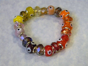 Shades of Red, Orange, Yellow and Purple Evil Eye and Crystal Stretch Bracelet