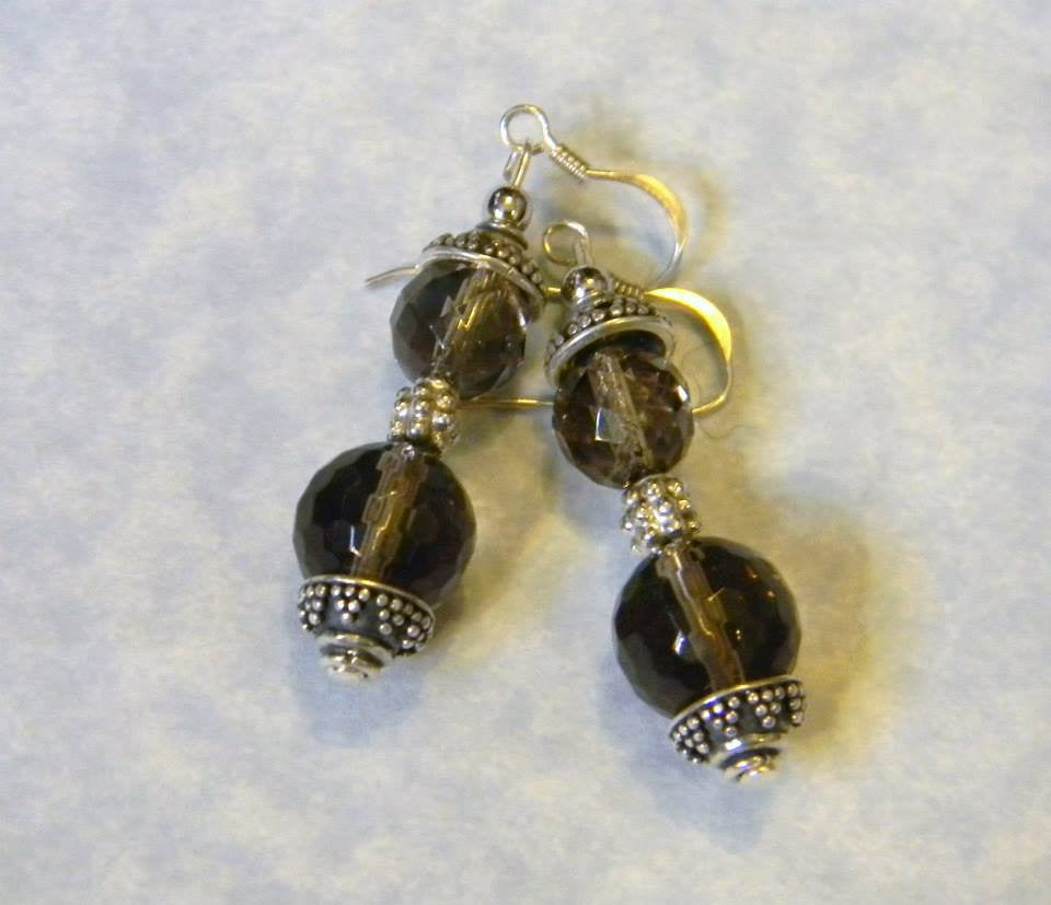 Bali Silver and Smoky Quartz Drop Earrings