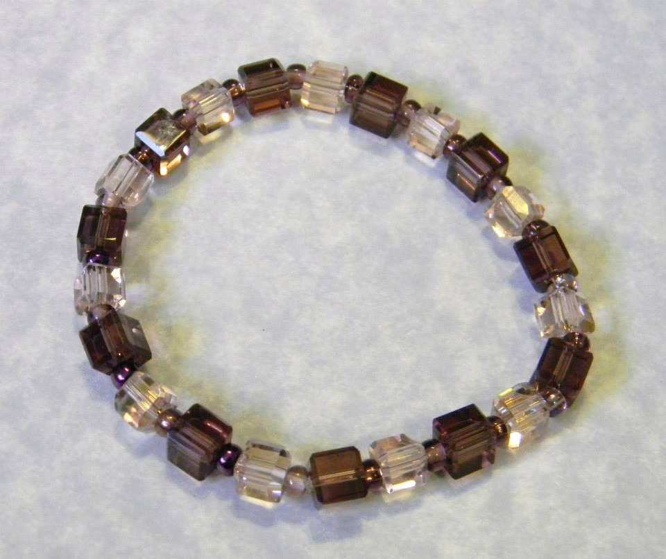 Pink and Purple Crystal Cube and Seed Bead Stretch Bracelet