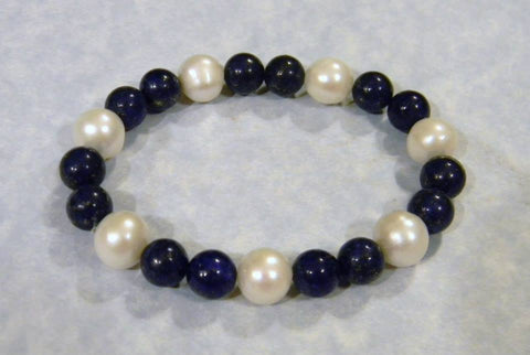 Lapis and Freshwater Pearl Bracelet
