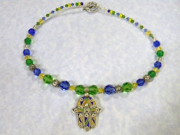 Berber Tuareg Enamel Hamsa Pendant, Bali Silver and Blue, Green & Yellow Crystal Necklace