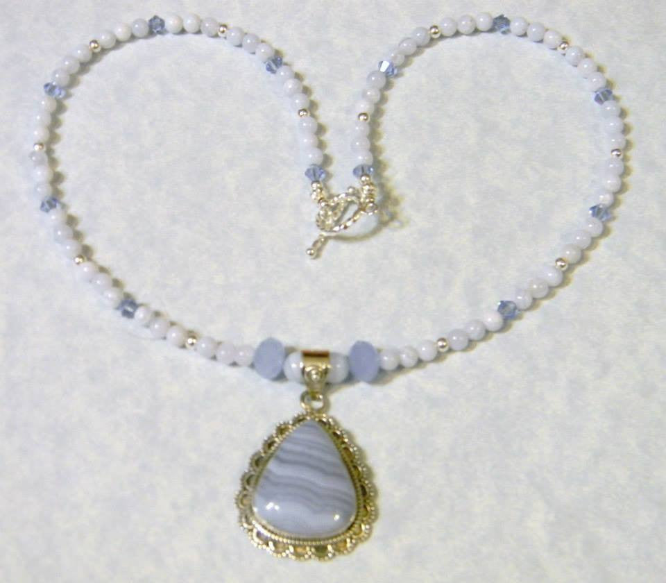 Blue Lace Agate, Silver and Crystal Pendant Necklace