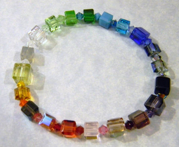Rainbow Multicolor Crystal Cube and Bicone Stretch Bracelet