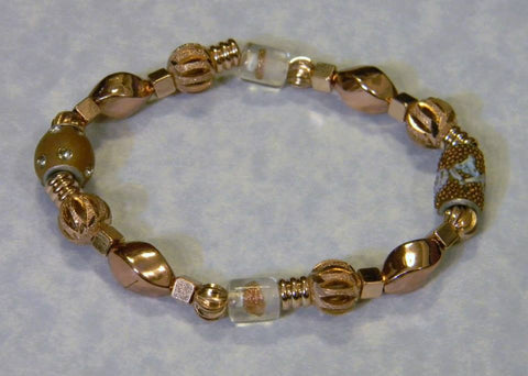 Rose Gold Bead, Glass and Kashmiri Lac Stretch Bracelet