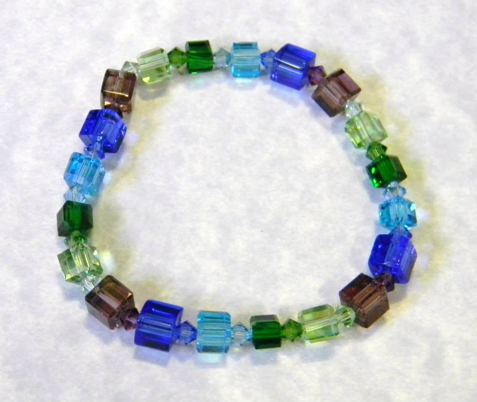 Shades of Blue, Green, and Purple Crystal Cube Stretch Bracelet