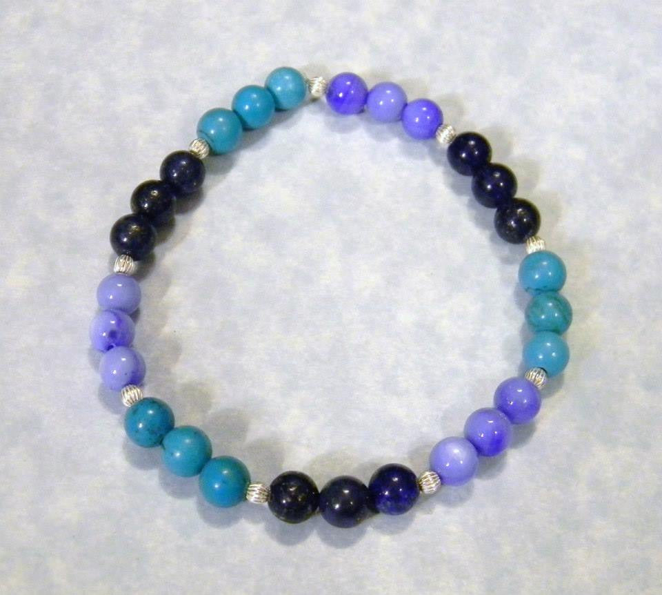 Shades of Blue Gemstone and Silver Bead Stretch Bracelet
