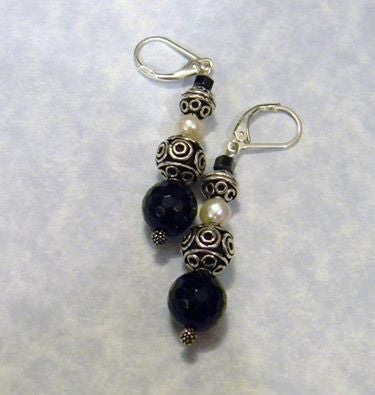 Onyx, Pearl, Hematite and Bali Silver Drop Earrings