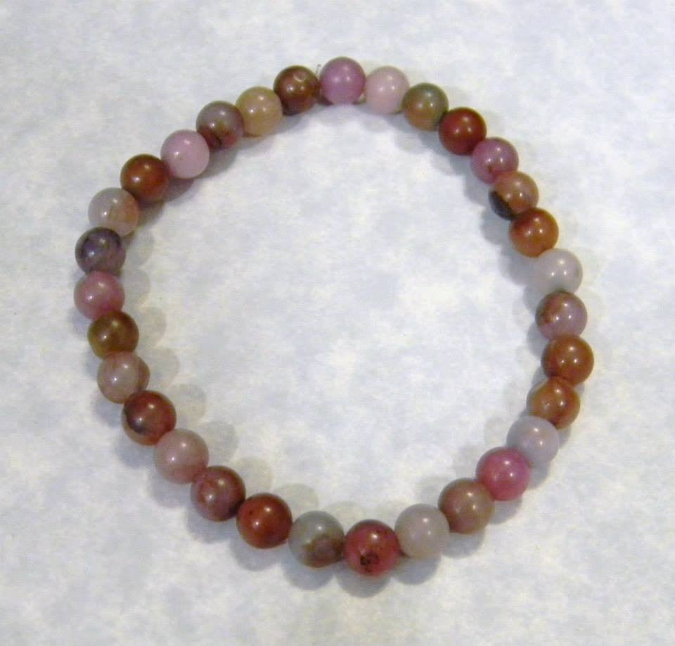 Shades of Pink, Lavender and Mauve Fancy Jasper and Dyed Agate Stretch Bracelet