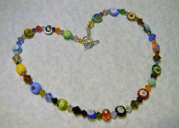 Rainbow Multicolor Murano Glass Millefiori Disc and Crystal Necklace