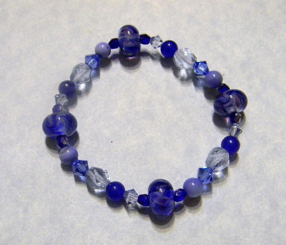 Shades of Tanzanite, Cobalt and Blue Art Glass, Gemstone, Crystal and Faceted Glass Bracelet