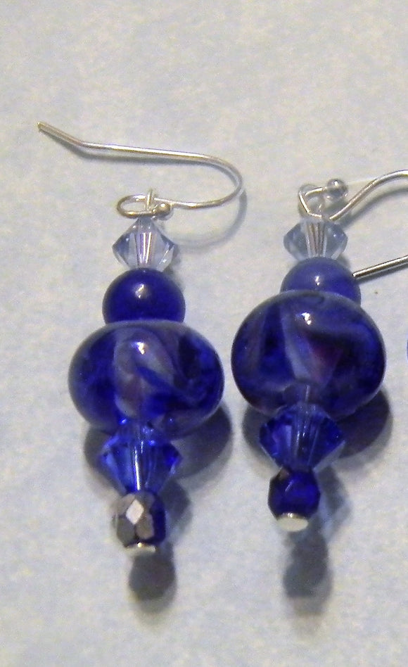 Tanzanite and Cobalt Blue Art Glass, Gemstone, Crystal and Seed Bead Drop Earrings