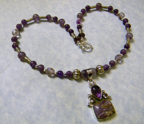 Amethyst, Charoite and Silver Pendant Necklace with Toggle