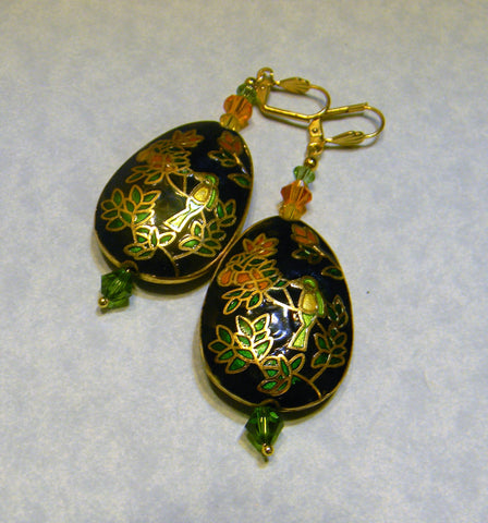 Cloisonné Bird Earrings