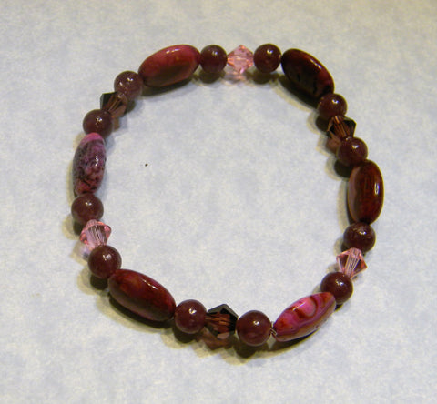 Pink, Fuchsia and Purple Lepidolite, Dyed Agate and Crystal Stretch Bracelet