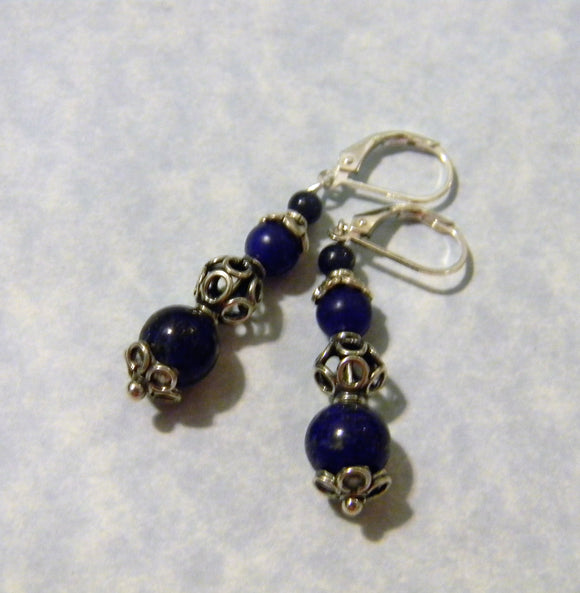Lapis Lazuli and Bali Silver Drop Earrings with Flower Headpins