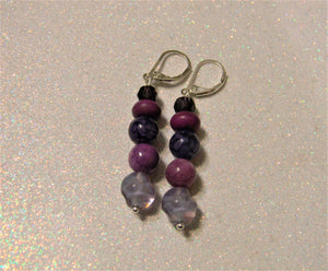 Shades of Purple Gemstone, Faceted Glass and Givre Bead Drop Earrings