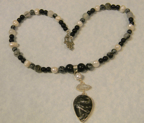 Black, White and Gray Gemstone Pendant Necklace