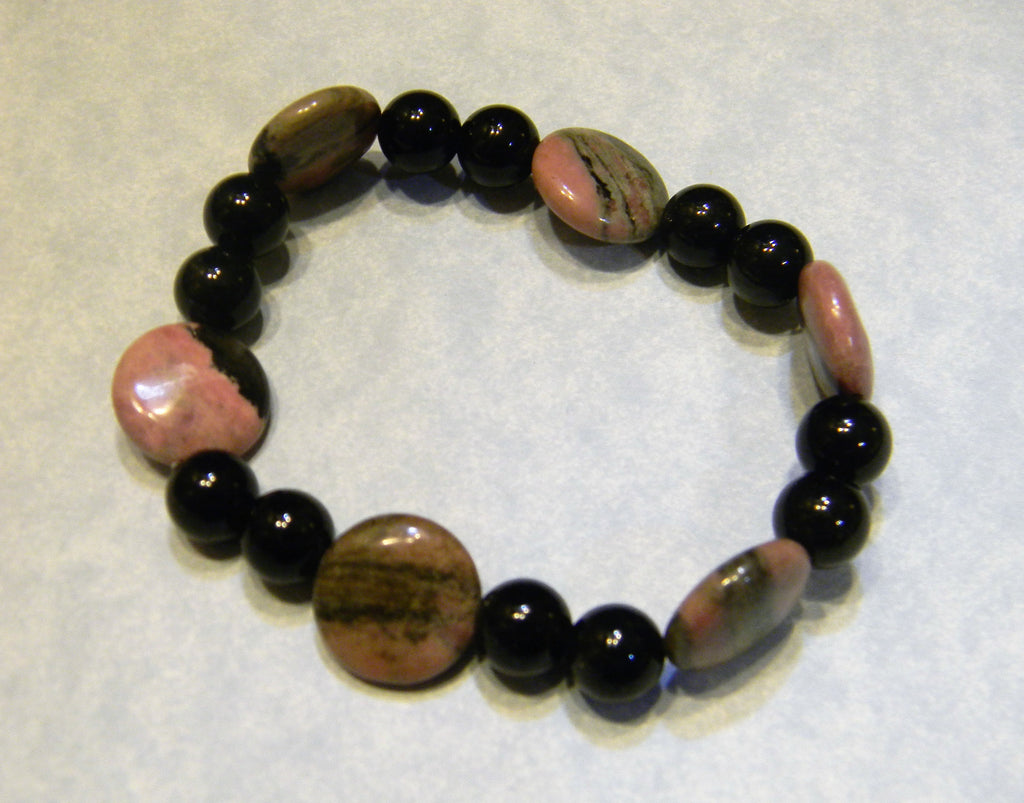 Rhodocrosite and Black Agate Stretch Bracelet